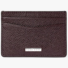 Buy BOSS Leather Travel Card Holder, Burgundy Online at johnlewis.com