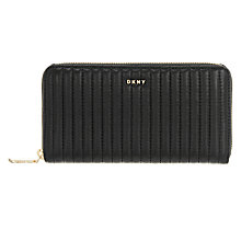 Buy DKNY Gansevoort Large Leather Zip Around Purse, Black Online at johnlewis.com