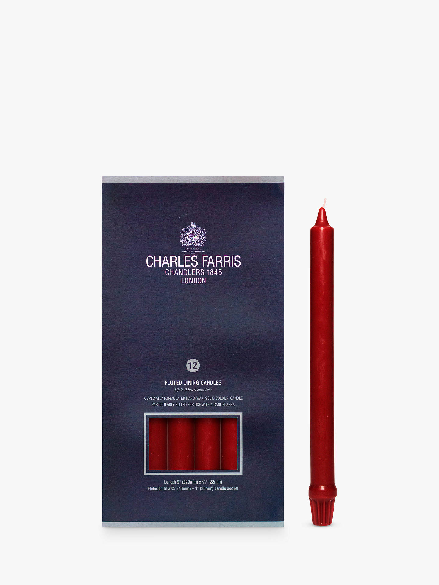 Buy Charles Farris Royal Candelabra Dinner Candles, Pack of 12, Wine Red Online at johnlewis.com