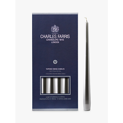 Charles Farris Dinner Candles, Pack of 12, Silver