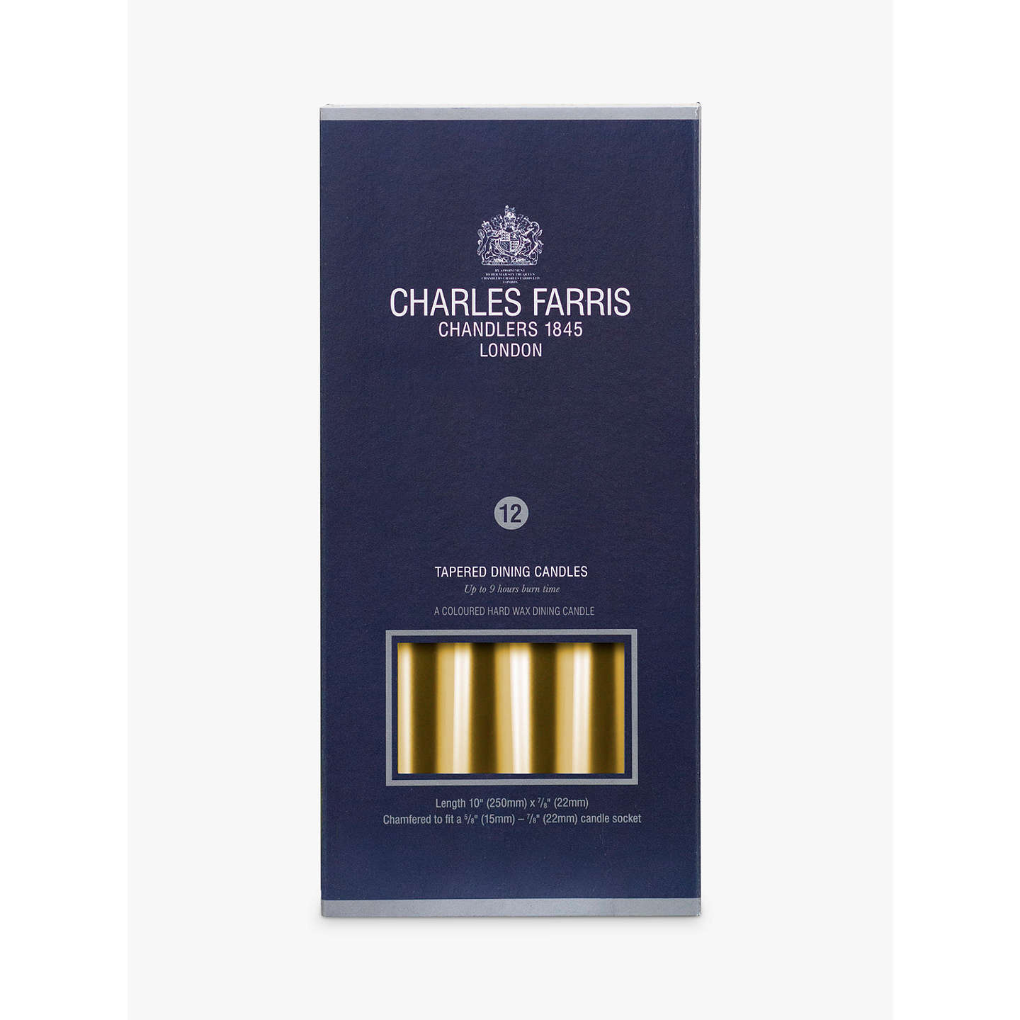 BuyCharles Farris Tapered Dinner Candles, Pack of 12, Gold Online at johnlewis.com