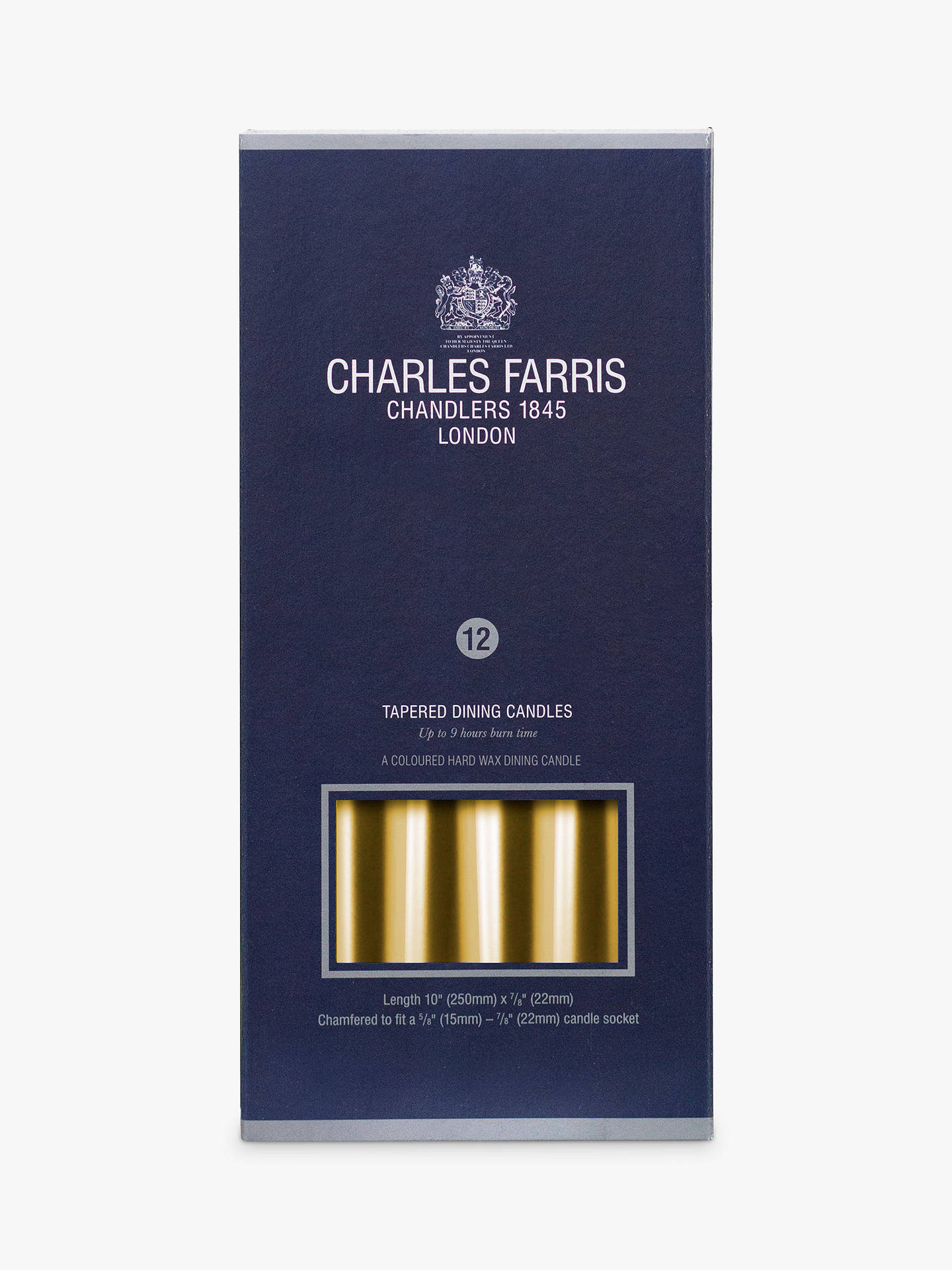 Buy Charles Farris Tapered Dinner Candles, Pack of 12, Gold Online at johnlewis.com