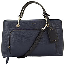 Buy DKNY Deerskin Leather Small Satchel, Navy Online at johnlewis.com