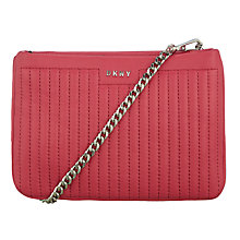 Buy DKNY Gansvoort Leather Mini Across Body Bag, Cerise Online at johnlewis.com