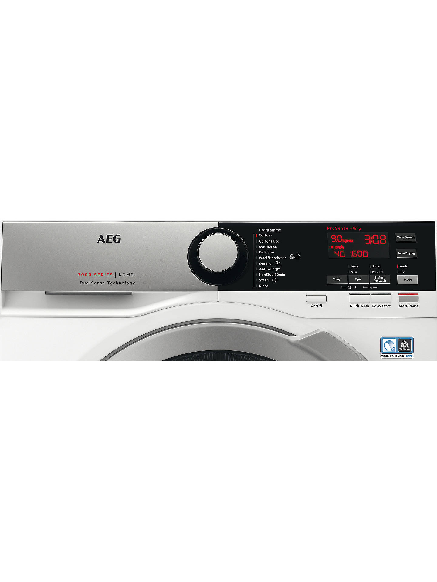Buy AEG L7WEE965R Freestanding Washer Dryer, 9kg Wash/6kg Dry Load, A Energy Rating, 1600rpm Spin, White Gloss Online at johnlewis.com