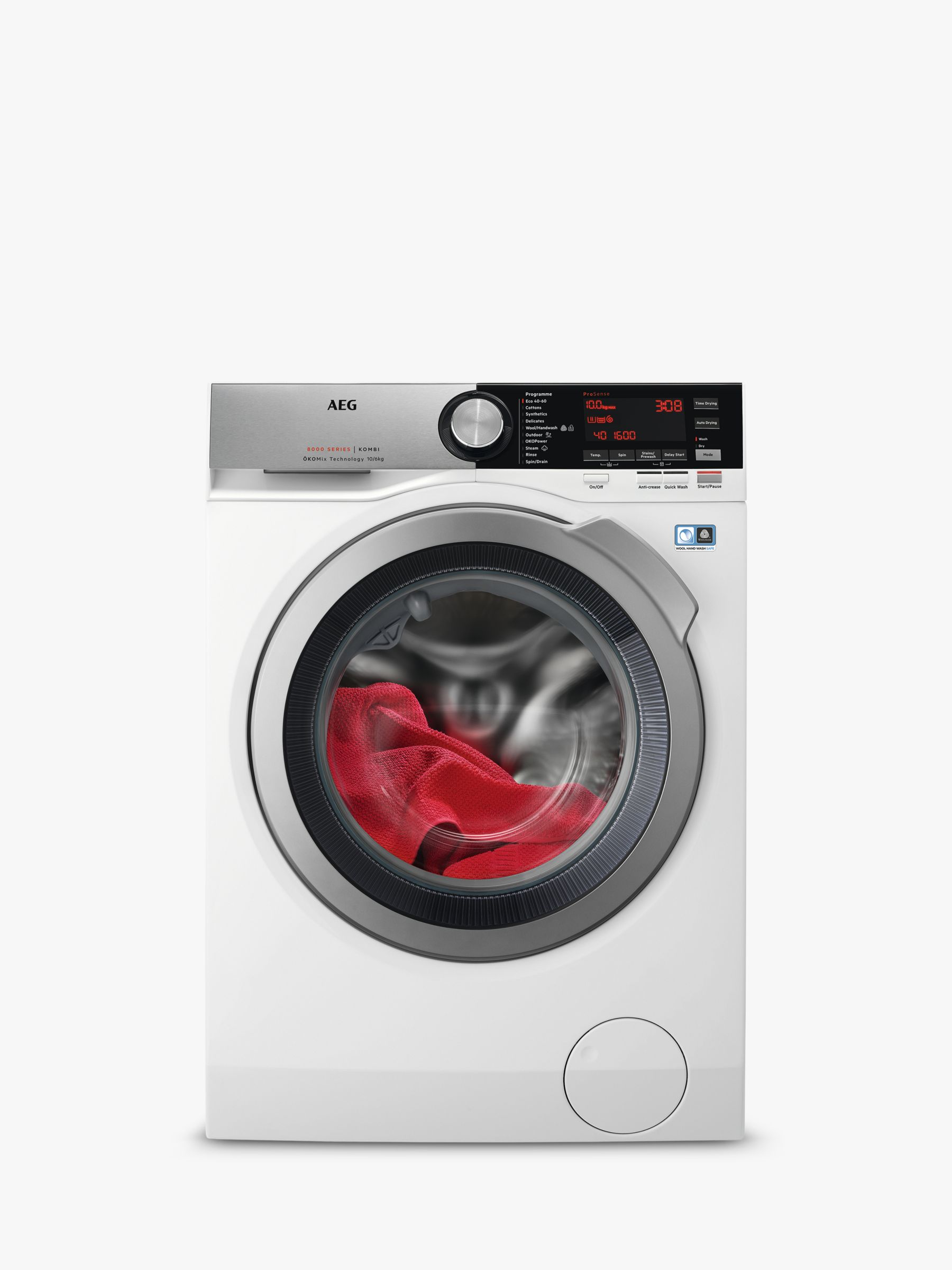 AEG AEG L8WEC166R Freestanding Washer Dryer, 10kg Wash/6kg Dry Load, A Energy Rating, 1600rpm Spin, White
