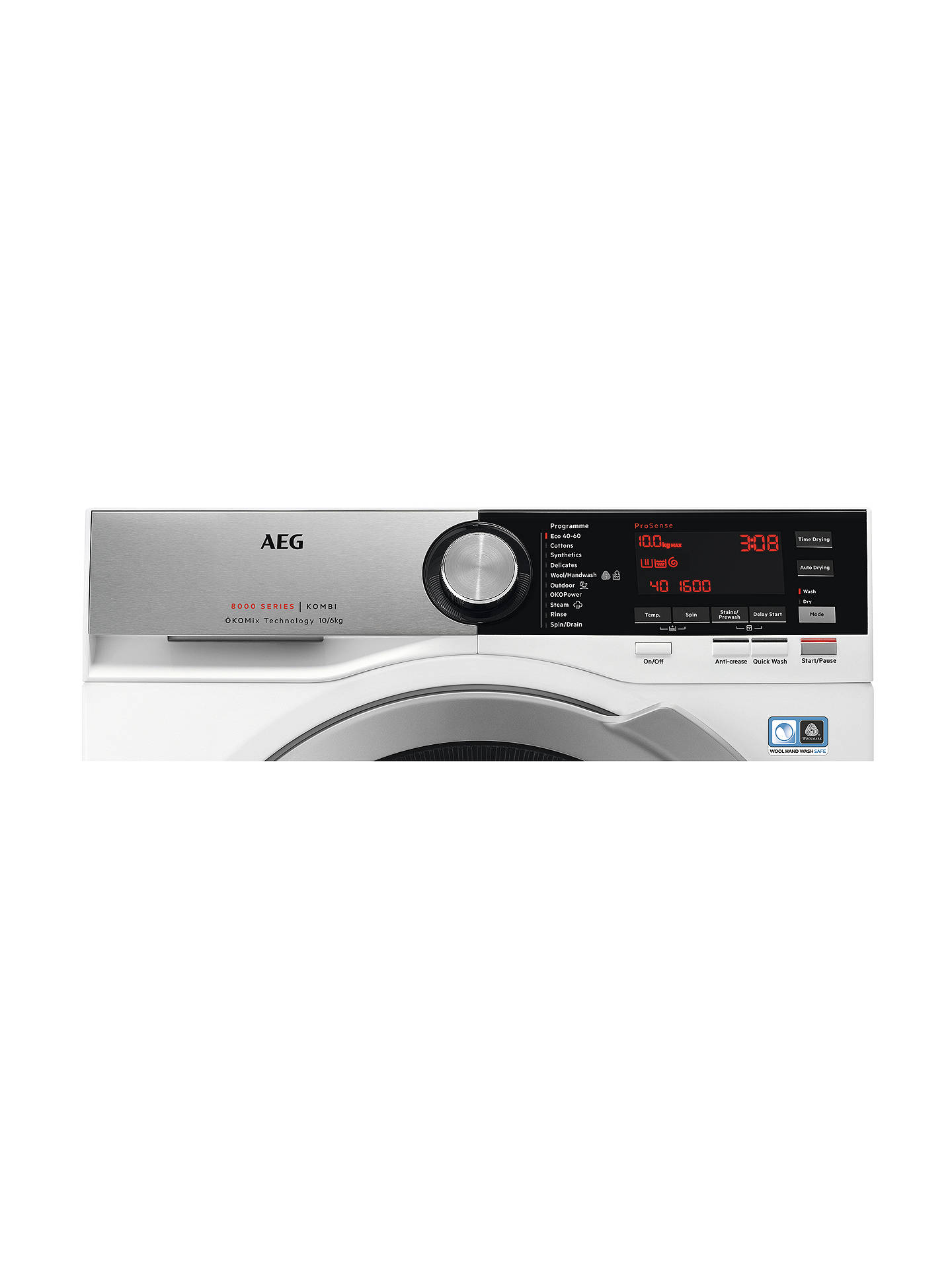 BuyAEG L8WEC166R Freestanding Washer Dryer, 10kg Wash/6kg Dry Load, A Energy Rating, 1600rpm Spin, White Online at johnlewis.com