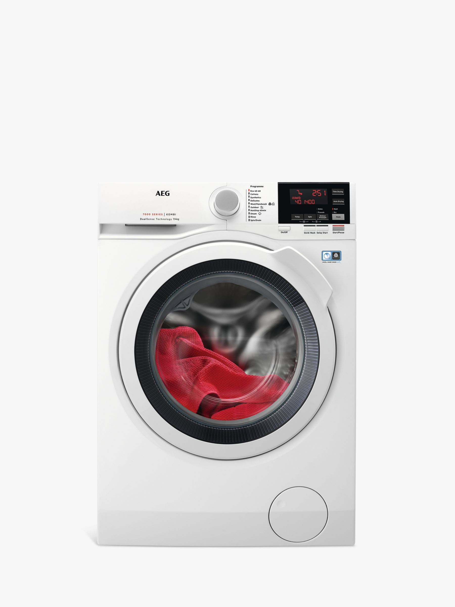 AEG AEG L7WBG741R Freestanding Washer Dryer, 7kg Wash/4kg Dry Load, A Energy Rating, 1400rpm Spin, White