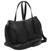 Buy Reiss Darrel Grained Leather Holdall, Black Online at johnlewis.com