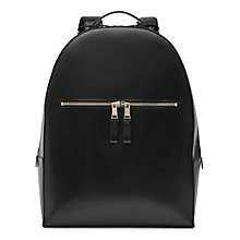 Buy Reiss Lexington Leather Backpack, Black Online at johnlewis.com