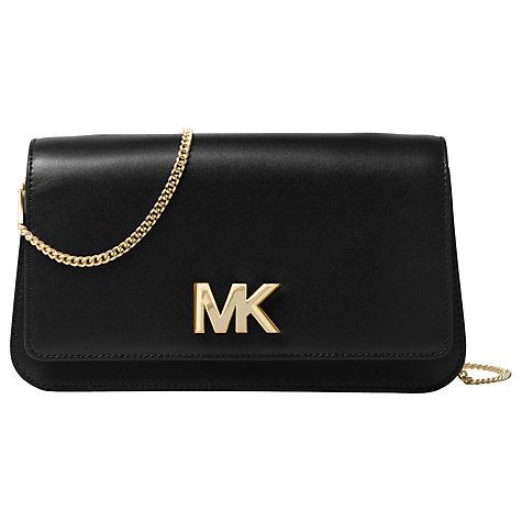 Buy MICHAEL Michael Kors Mott Leather Large Clutch Bag, Black ...
