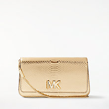 Buy MICHAEL Michael Kors Mott Large Leather Clutch, Pale Gold Online at johnlewis.com