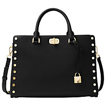 Buy MICHAEL Michael Kors Sylvie Leather Medium Satchel, Black Online at johnlewis.com