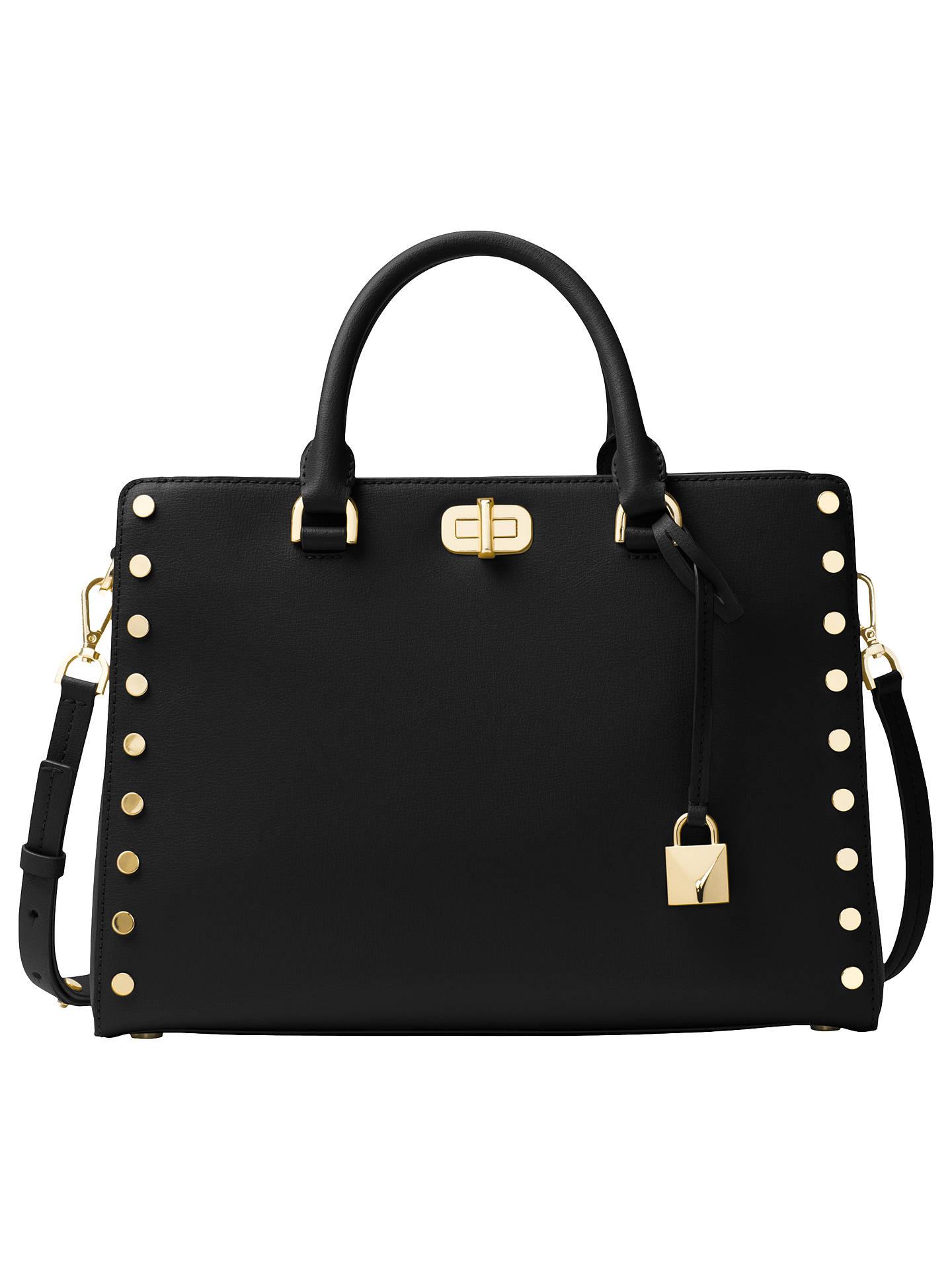 michael michael kors sylvie leather medium satchel black at john rh johnlewis com
