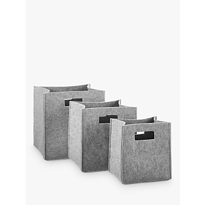 House by John Lewis Felt Bucket Storage Box, Grey, Set of 3
