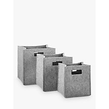 Buy House by John Lewis Felt Bucket Storage Box, Grey, Set of 3 Online at johnlewis.com