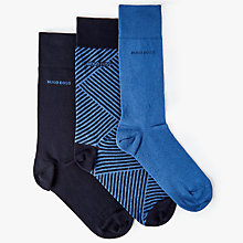 Buy BOSS Plain Stripe Socks Gift Box, Pack of 3, Navy Online at johnlewis.com