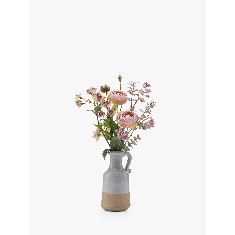 John Lewis Flowers Artificial peony pink astrantia and ranuncula in blue jug at john lewis buyartificial peony pink astrantia and ranuncula in blue jug online at johnlewis sisterspd