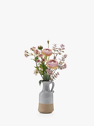 Pink peony artificial flowers plants john lewis artificial peony pink astrantia and ranuncula in blue jug exclusive to john lewis mightylinksfo