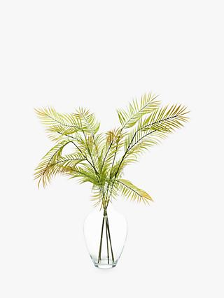 Peony Artificial Scandi Ferns In Glass Vase