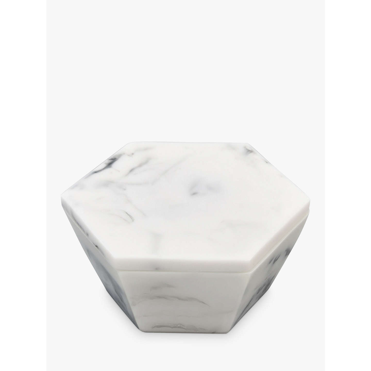 BuyStackers Marble Effect Geometric Trinket Jewellery Box, White Online at johnlewis.com