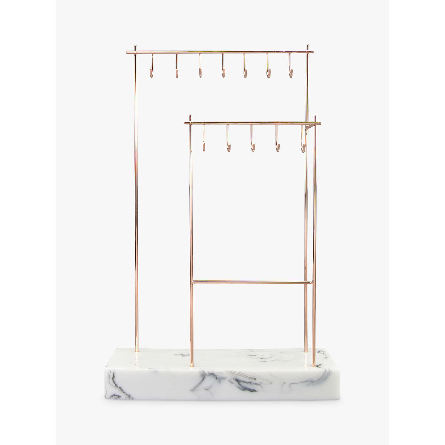 Stackers 12 hook jewellery stand with marble effect base for Sawyer marble jewelry stand