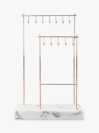 Stackers 12-Hook Jewellery Stand with Marble Effect Base, Rose Gold