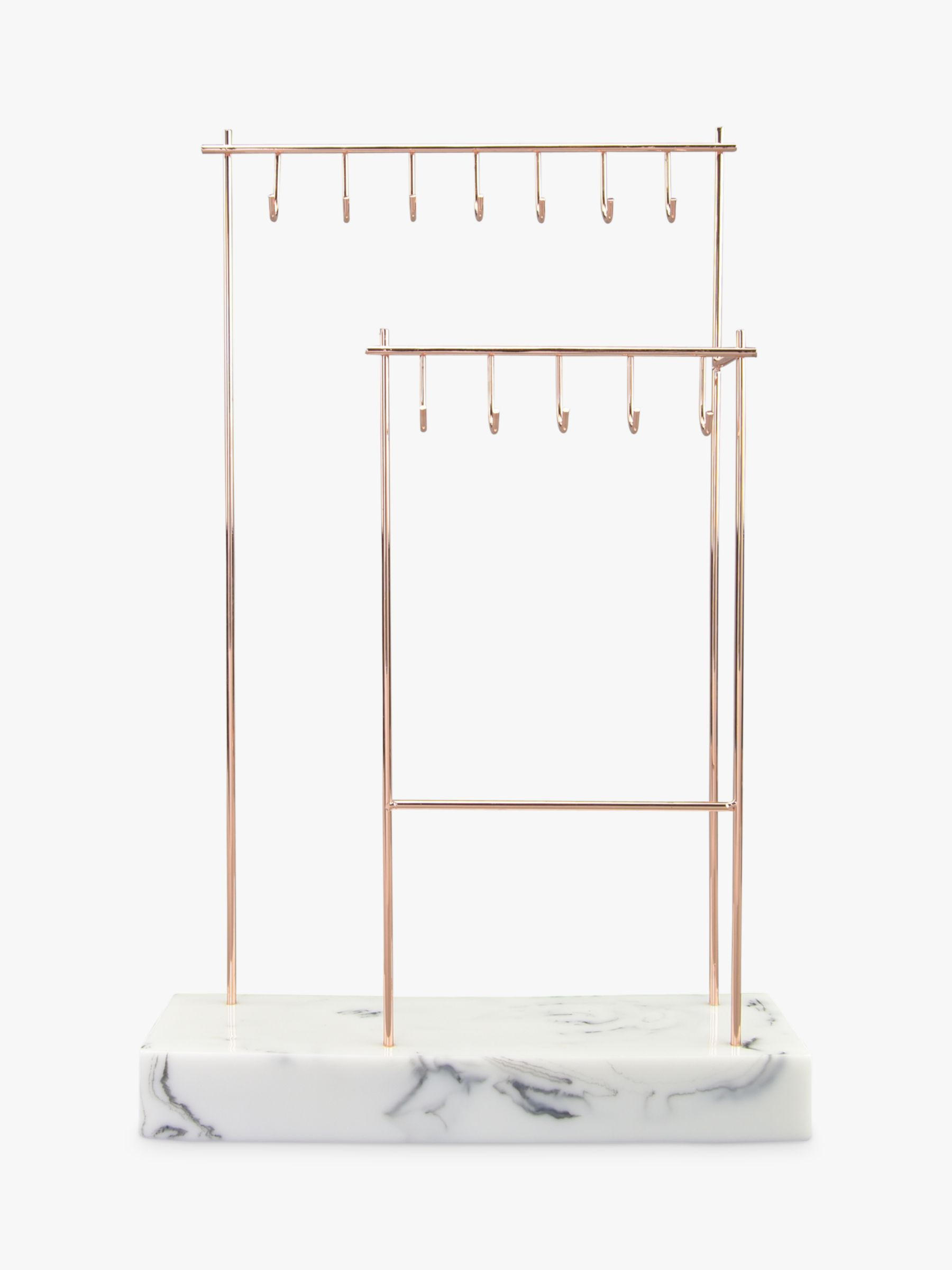 Stackers Stackers 12-Hook Jewellery Stand with Marble Effect Base, Rose Gold