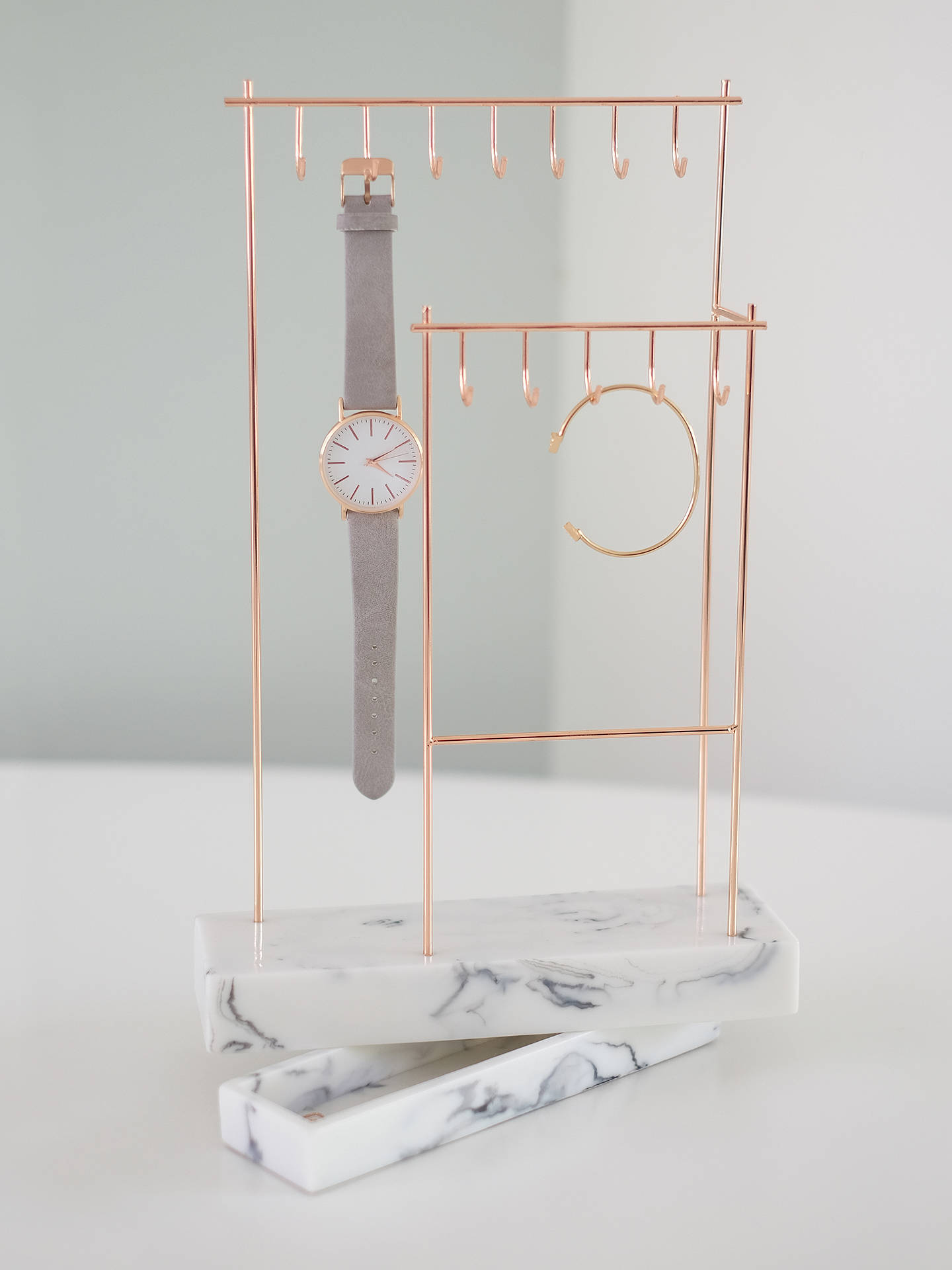 Stackers 12 Hook Jewellery Stand With Marble Effect Base Rose Gold At John Lewis Partners