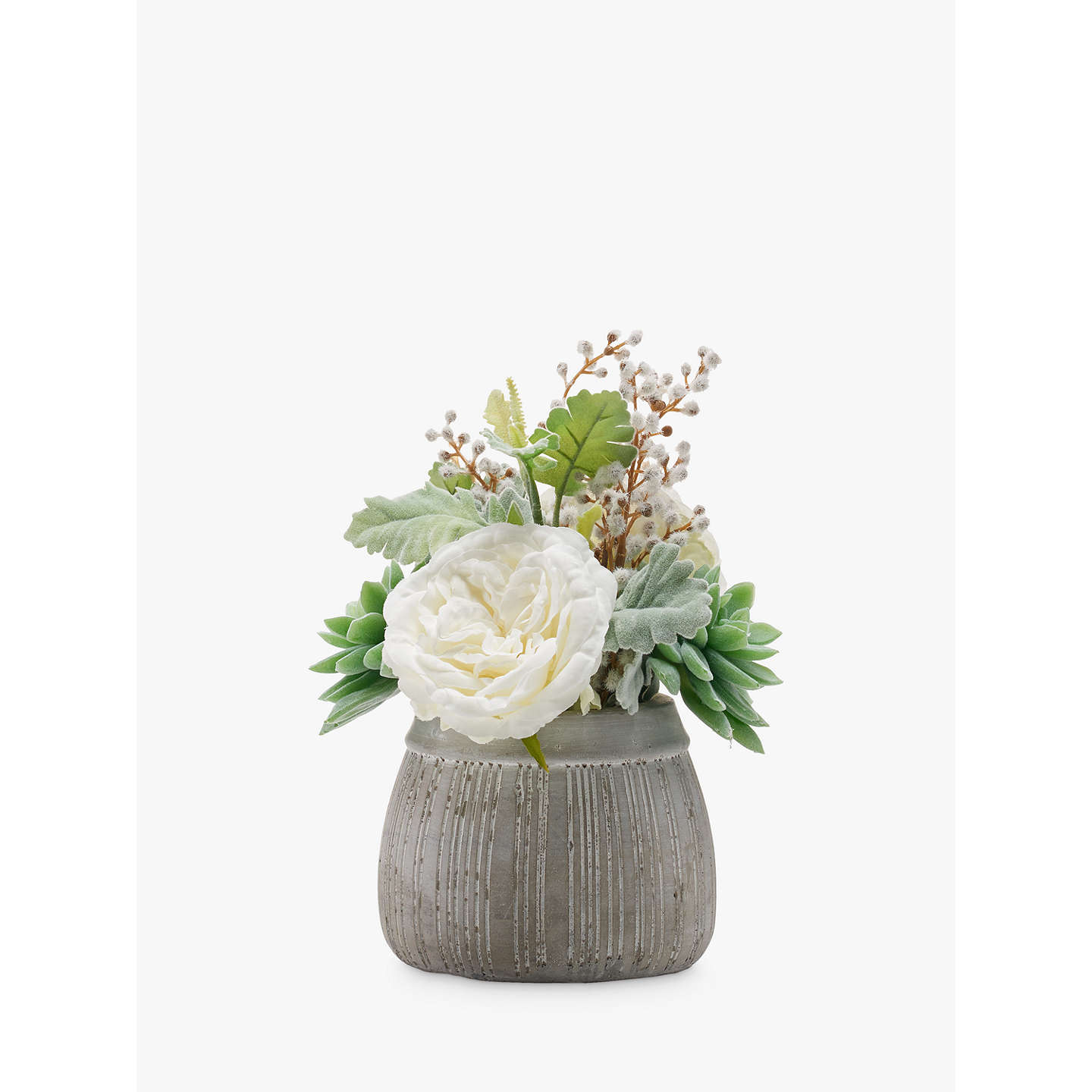 John Lewis Flowers Peony artificial succulent and rose in grey pot at john lewis buypeony artificial succulent and rose in grey pot online at johnlewis sisterspd