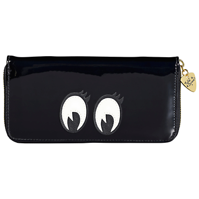 Tatty Devine Cartoon Eyes Zip Around Purse, Black