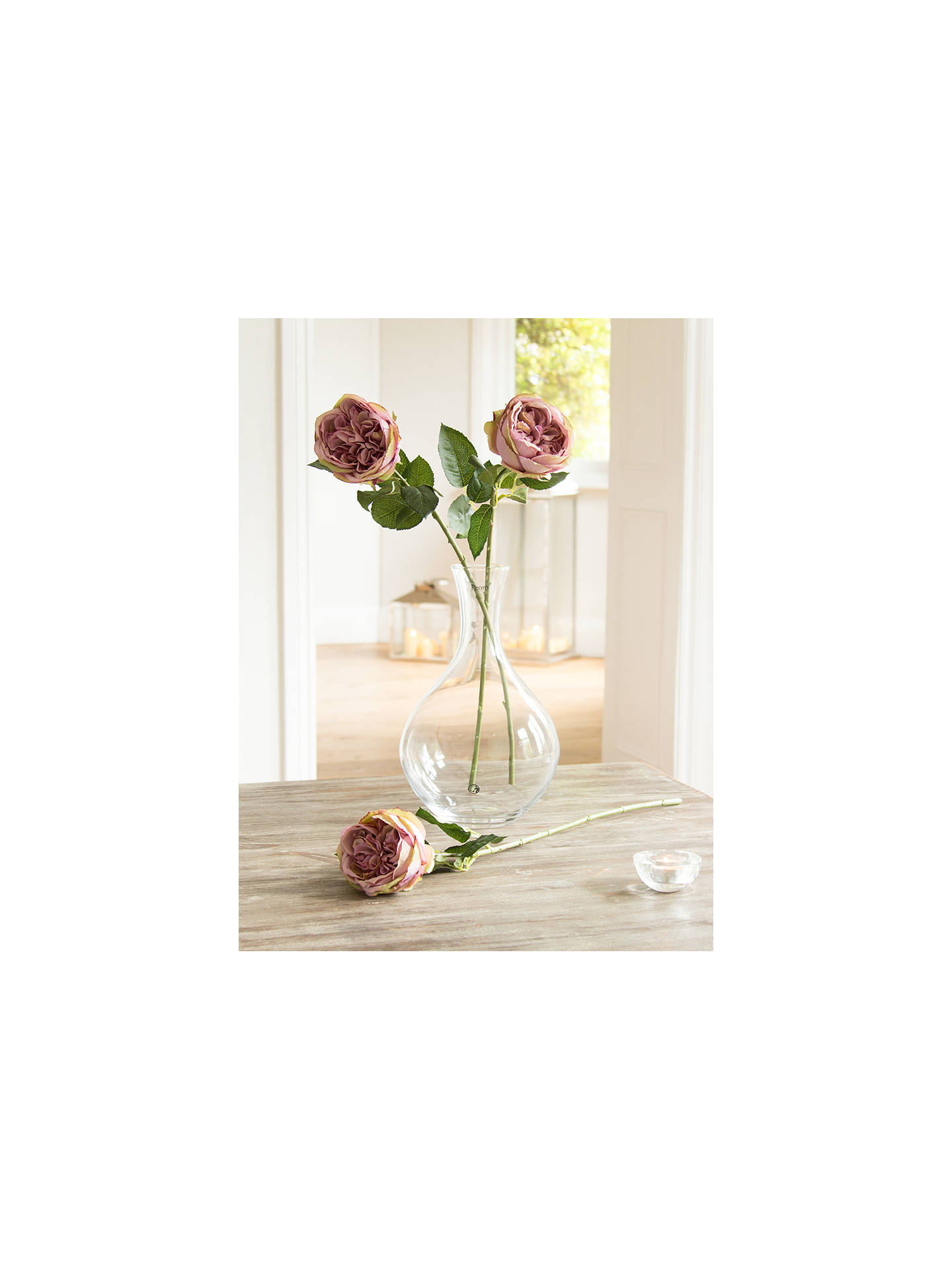 7e6829a330e0 Peony Artificial Vintage Single Stem Rose, Pink