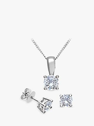 Mogul 18ct White Gold Brilliant Cut Diamond Solitaire Stud Earrings and Pendant Necklace Jewellery Set, 1.00ct