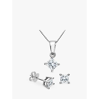 Mogul 18ct White Gold Princess Cut Diamond Solitaire Stud Earrings and Pendant Necklace Jewellery Se