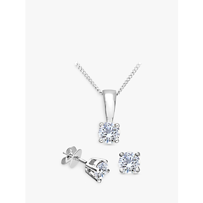 Mogul 18ct White Gold Brilliant Cut Diamond Solitaire Stud Earrings and Pendant Necklace Jewellery S