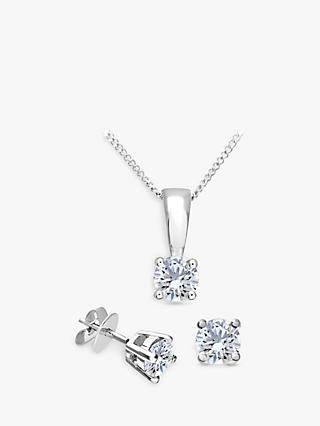 Mogul 18ct White Gold Brilliant Cut Diamond Solitaire Stud Earrings and Pendant Necklace Jewellery Set, 0.50ct