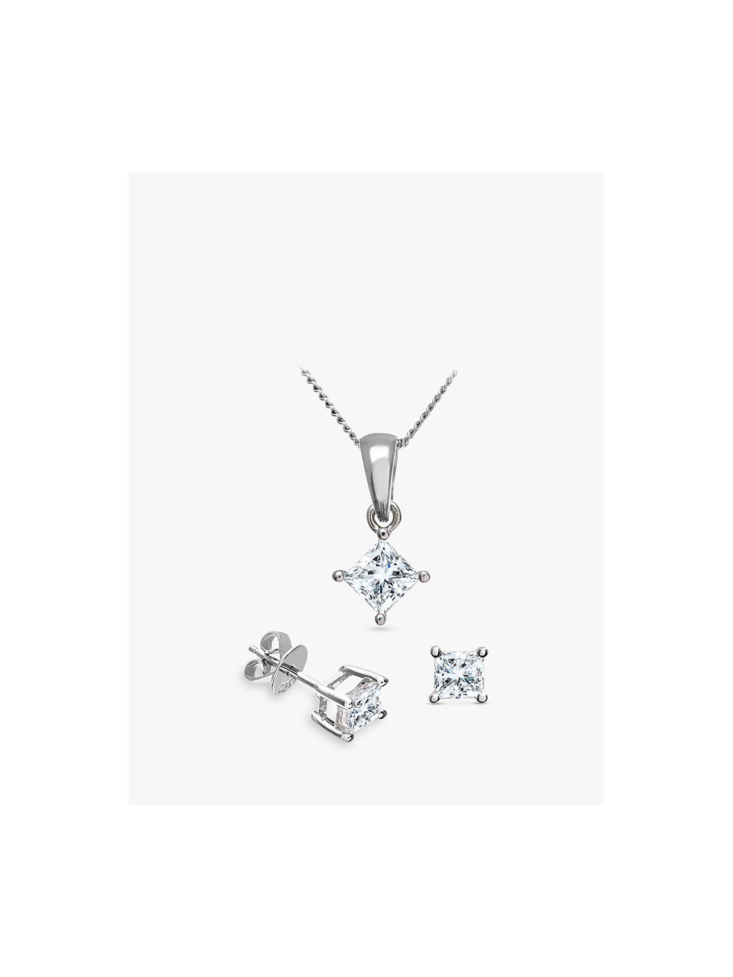 4be461ed6 Buy Mogul 18ct White Gold Princess Cut Diamond Solitaire Stud Earrings and Pendant  Necklace Jewellery Set ...