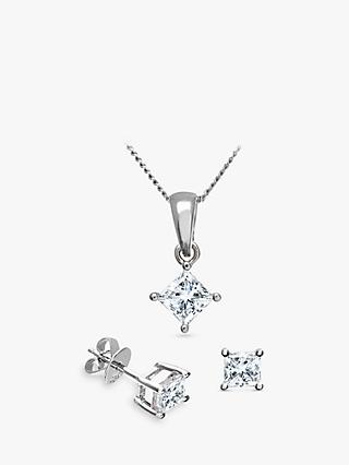 Mogul 18ct White Gold Princess Cut Diamond Solitaire Stud Earrings and Pendant Necklace Jewellery Set, 1.00ct