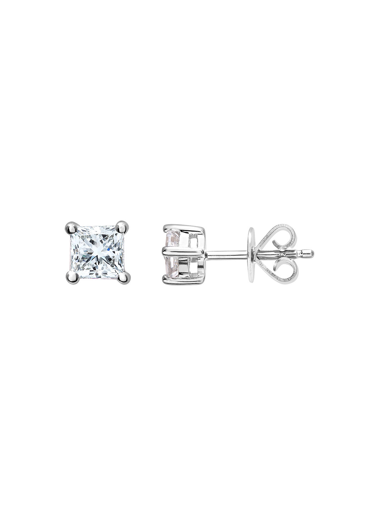 eac0d82ca ... Buy Mogul 18ct White Gold Princess Cut Diamond Solitaire Stud Earrings  and Pendant Necklace Jewellery Set ...