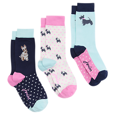 Joules Scotty Dog Pattern Anke Socks, Pack of 3, Multi