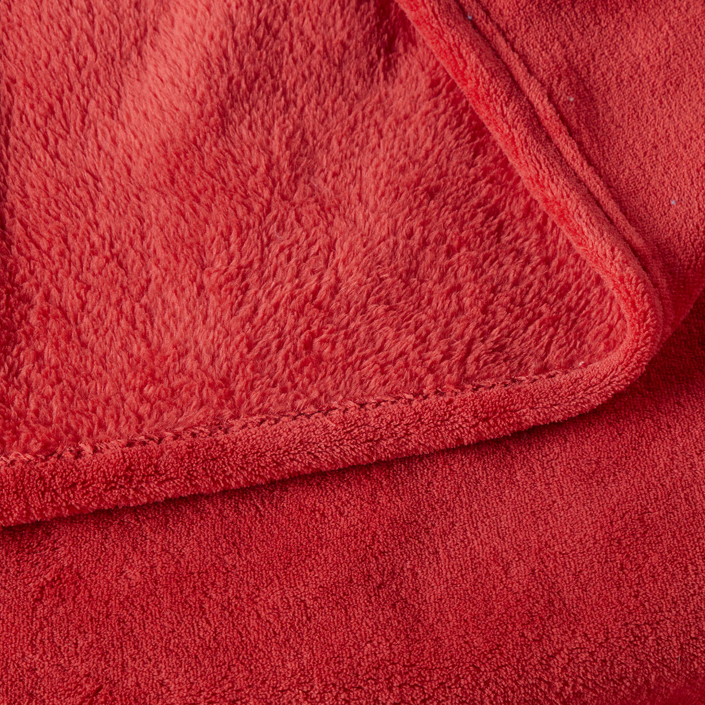 Buylittle home at John Lewis Plain Fleece Throw, Red Online at johnlewis.com