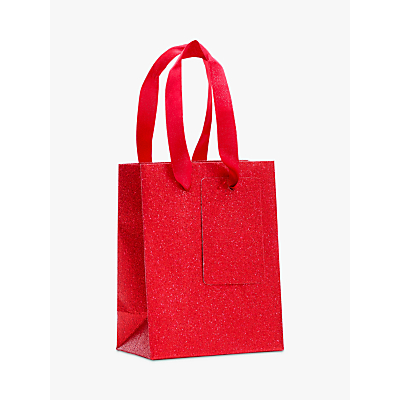 Image of John Lewis & Partners Encapsulated Red Glitter Gift Bag, Mini