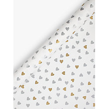 Buy John Lewis Gold and Silver Hearts Wedding Gift Wrap, 3m Online at johnlewis.com