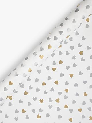 John Lewis & Partners Gold and Silver Hearts Wedding Gift Wrap, 3m