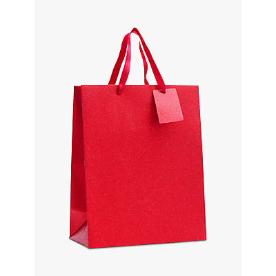 Image of John Lewis & Partners Encapsulated Red Glitter Gift Bag, Medium