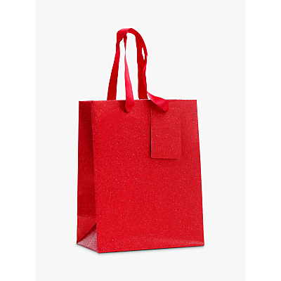Image of John Lewis & Partners Encapsulated Red Glitter Gift Bag, Small
