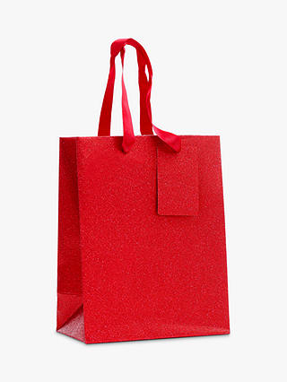 Buy John Lewis & Partners Encapsulated Red Glitter Gift Bag, Small Online at johnlewis.com