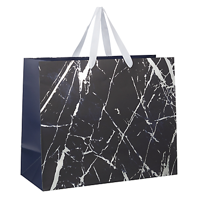 Image of John Lewis & Partners Navy Marble Gift Bag