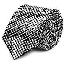 Buy Reiss Leroy Houndstooth Silk Tie, Black Online at johnlewis.com