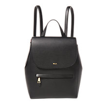Buy Lauren Ralph Lauren Ellen Leather Backpack, Black/Crimson Online at johnlewis.com